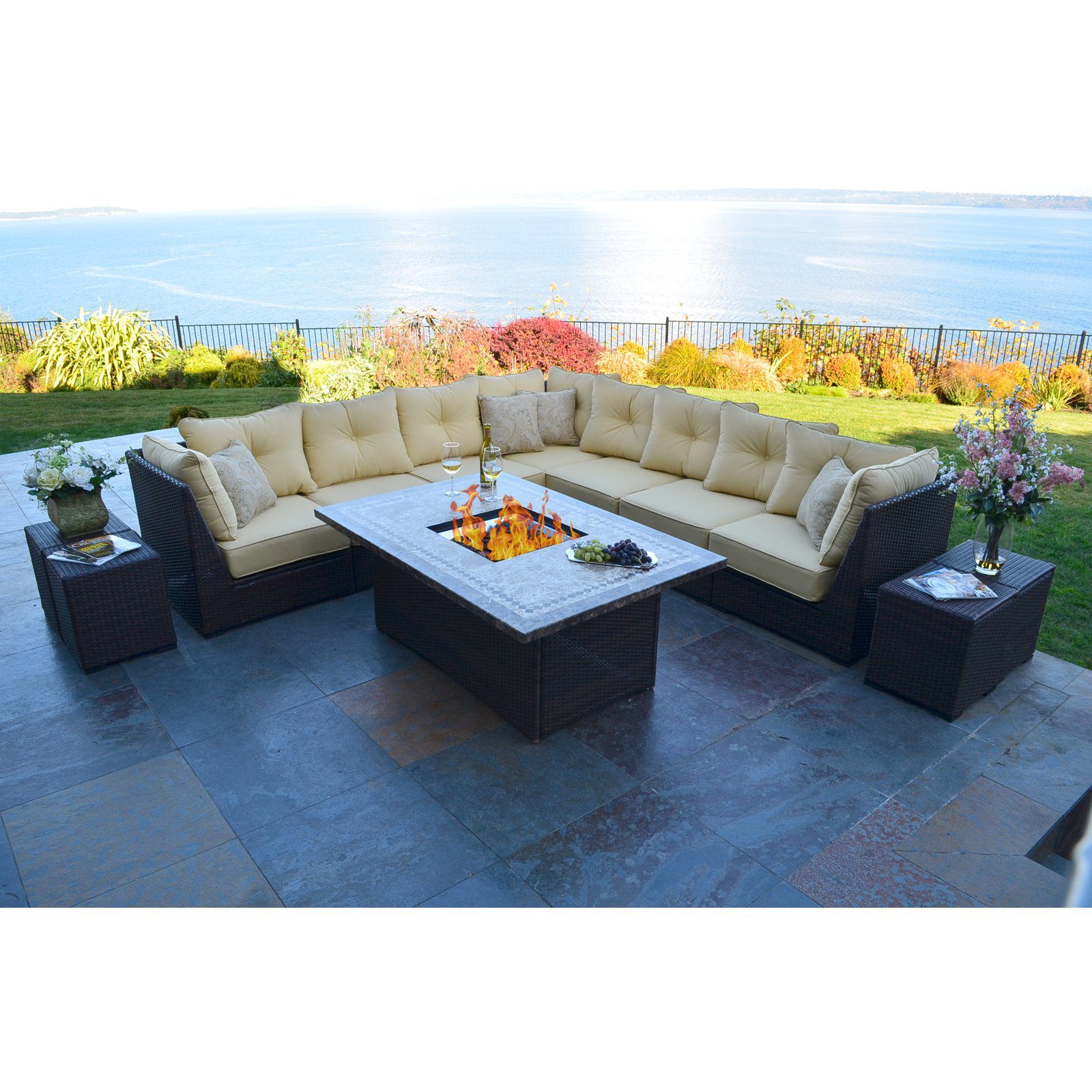 south beach allweather wicker sectional fire pit chat set walmartcom - Pit Sectional