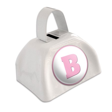 Letter B Initial Baby Girl Block Font Pink Shower White Cowbell Cow Bell (Pink Cowbell)