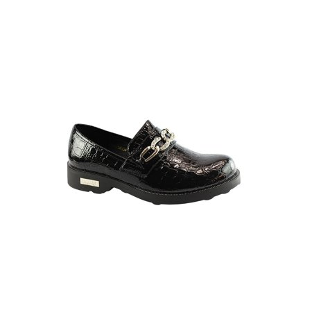 (Liyu Adult Black Patent Croc Chain Detail Slip-On Oxford Shoes)