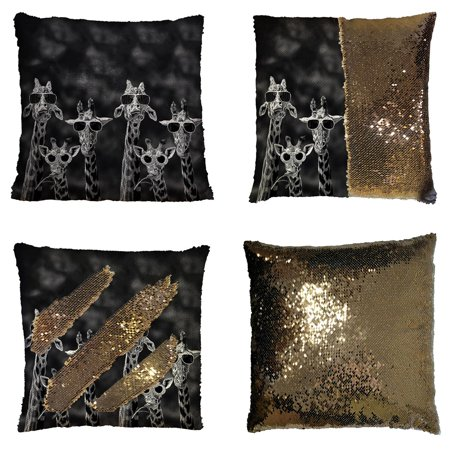 - GCKG Giraffe Wearing Glasses Funny Pattern Animal Reversible Mermaid Sequin Pillow Case Home Decor Cushion Cover 16x16 inches
