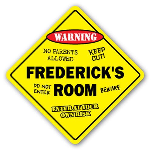 """Frederick's Room Sign Crossing Zone Xing   Indoor/Outdoor   14"""" Tall kids bedroom decor door children's name boy girl"""