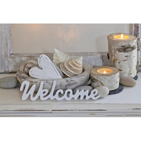 Decoration, White, Window Frame, Welcome, Candles, Bowl, Seashells, Stones, Heart Print Wall Art By Andrea - Heart Framed Print
