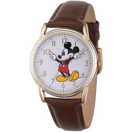 Classic Mickey Mouse Women's Two-Tone Cardiff Alloy Watch, Brown Leather Strap Disney Classic Watch
