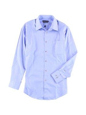 Geoffrey Beene Mens Wrinkle Free Button Up Dress Shirt blue 16