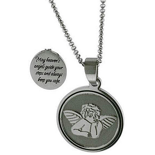 """Connections from Hallmark Stainless-Steel Inscribed Angel Disk Pendant, 18-20"""""""
