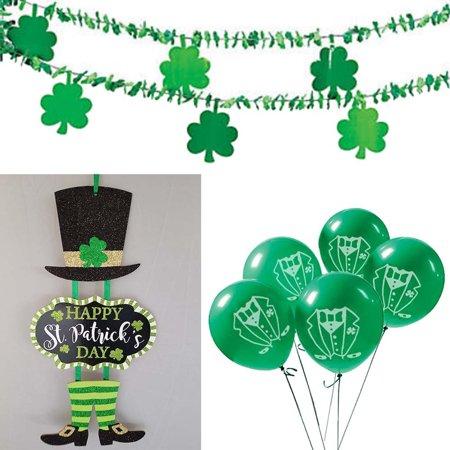 02 St Patrick S Patricks Day Party Decorations Shamrock Garland Balloons Leprechaun Sign