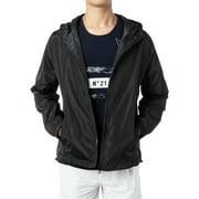DODOING Men's Comfort Lightweight Windbreaker Jacket Waterproof Hooded Outdoor Jackets Casual Outwear With Side Pockets