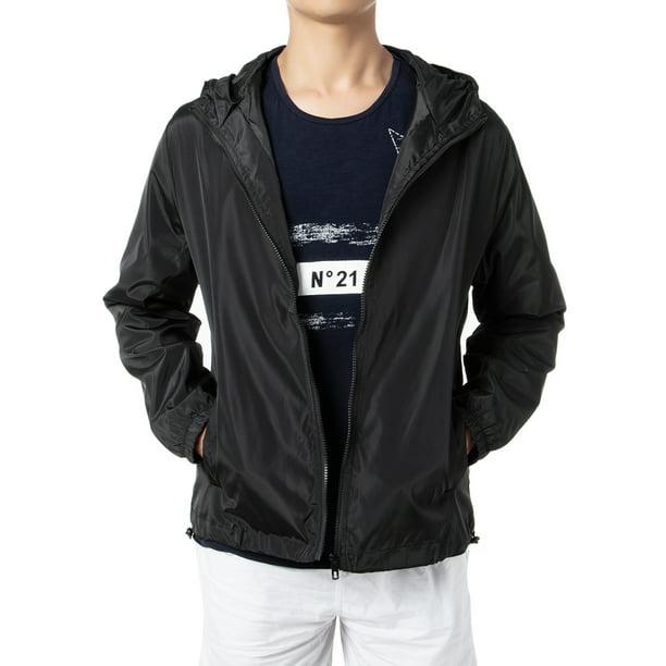 Dodoing Dodoing Men S Outdoor Jackets Lightweight Windbreaker Jacket Waterproof Hooded Casual Outwear Black Walmart Com Walmart Com