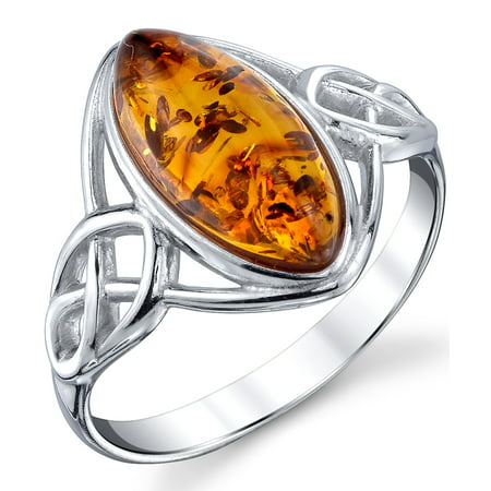 Women's Sterling Silver Baltic Amber Celtic Design Ring Cognac Marquise Shape Center Sizes 5-9