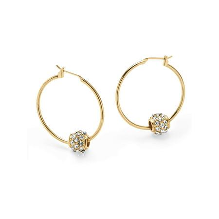 Birthstone Bead Hoop Earrings in Yellow Gold Tone (1