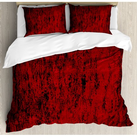 Red and Black Duvet Cover Set, Artistic Abstract Pattern with Grungy Distressed Look and in Vintage Style, Decorative Bedding Set with Pillow Shams, Red Black, by (Red Bedding Set)