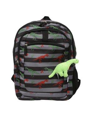 "Crckt Kids Boys 16.5"" School Backpack with Plush Dangle, Dinosaur Print"
