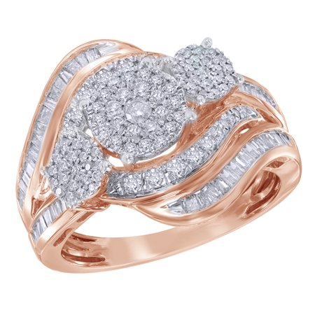 Round & Baguette White Natural Diamond Three Stone Cluster Bypass Ring in 10K Rose Gold (1 cttw)
