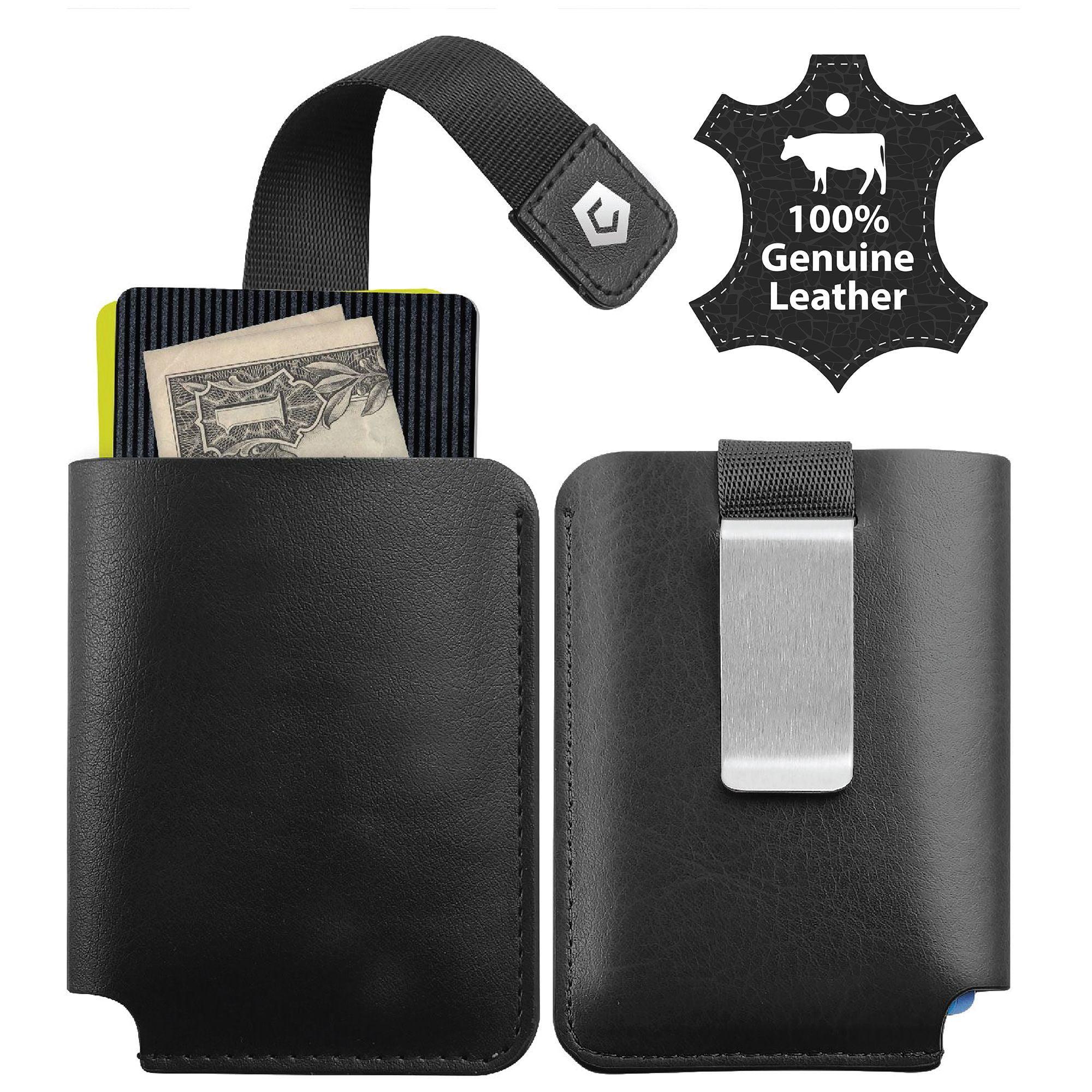 Genuine Leather Luxury Men/'s Small Id Credit Card Holder Wallet Slim Pocket Case