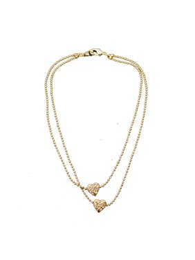 Gold 2 Row Strand with Double Gold and Crystal Rhinestone Heart Shape Anklet