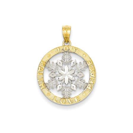 Rhodium Snowflake Pendant - 14k & Rhodium Joy/Peace/Love/Faith Snowflake Pendant