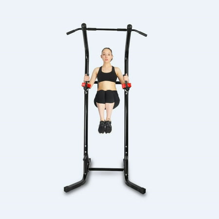 CRYSTAL Adjustable Power Tower w/ with Push Up, Pull Up, and Dip Stations Strength Muscle Training Fitness Workout Exercise Machine for Home Gym Office,