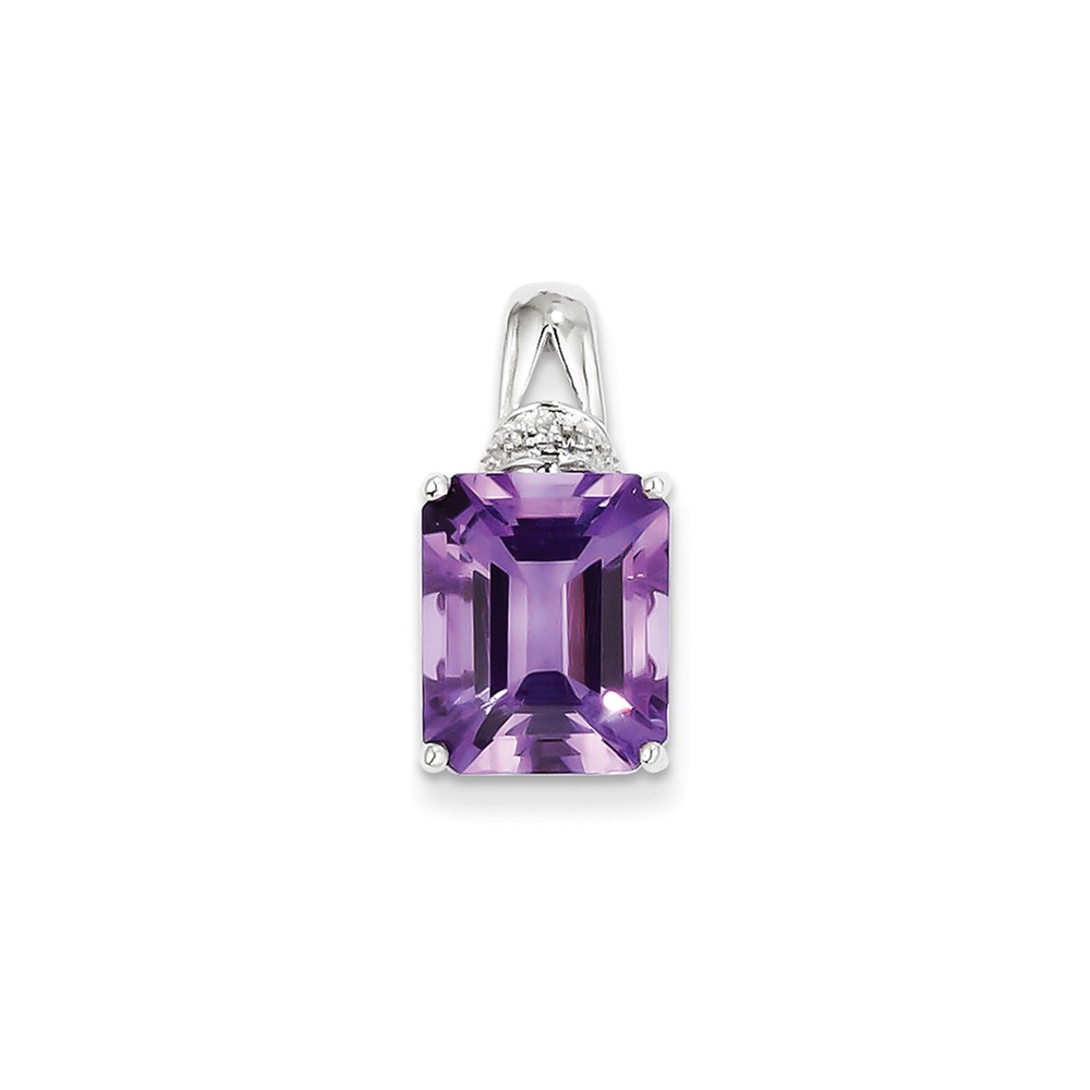Sterling Silver Amethyst and Diamond Pendant. Carat Wt- 0.015ct. Gem Wt- 5ct