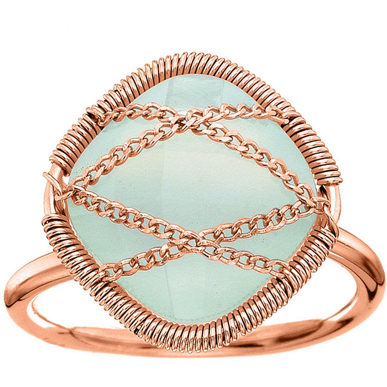5th & Main Rose Gold over Sterling Silver Hand-Wrapped Squared Chalcedony Stone Ring by Generic