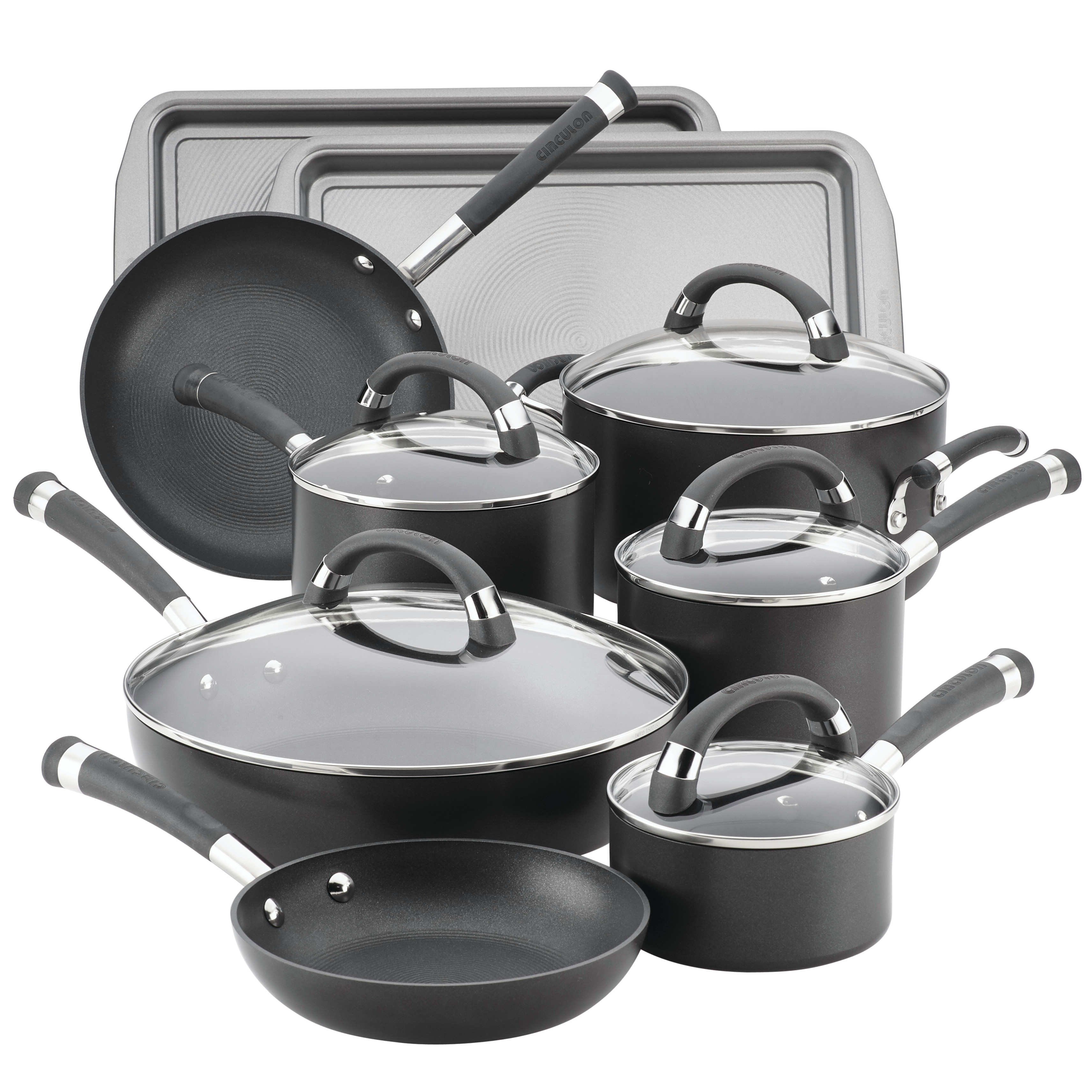 Circulon Espree Hard-Anodized Nonstick 14-Piece Cookware Set, Pewter