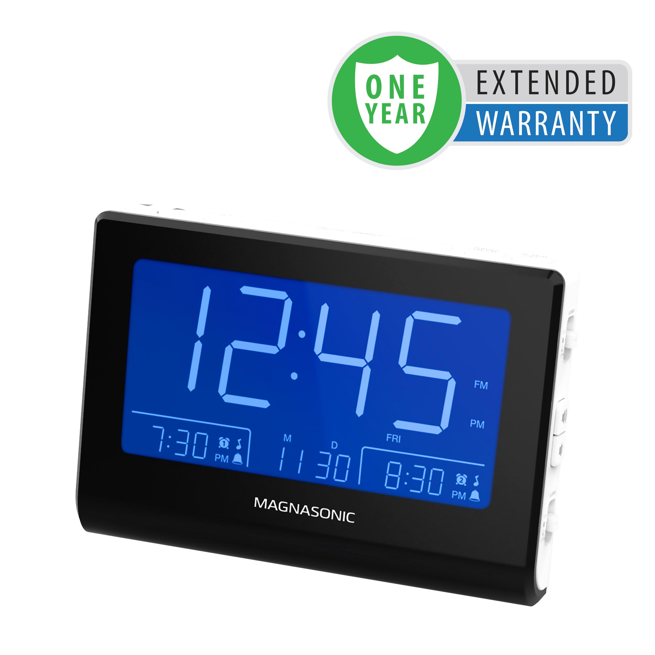 "Magnasonic Alarm Clock Radio with Battery Backup, Dual Gradual Wake Alarm, Adjustable Brightness, Daylight Savings Time, Large 4.8"" LED Display, AM/FM, Sleep Timer - 1 Year Extended Warranty"