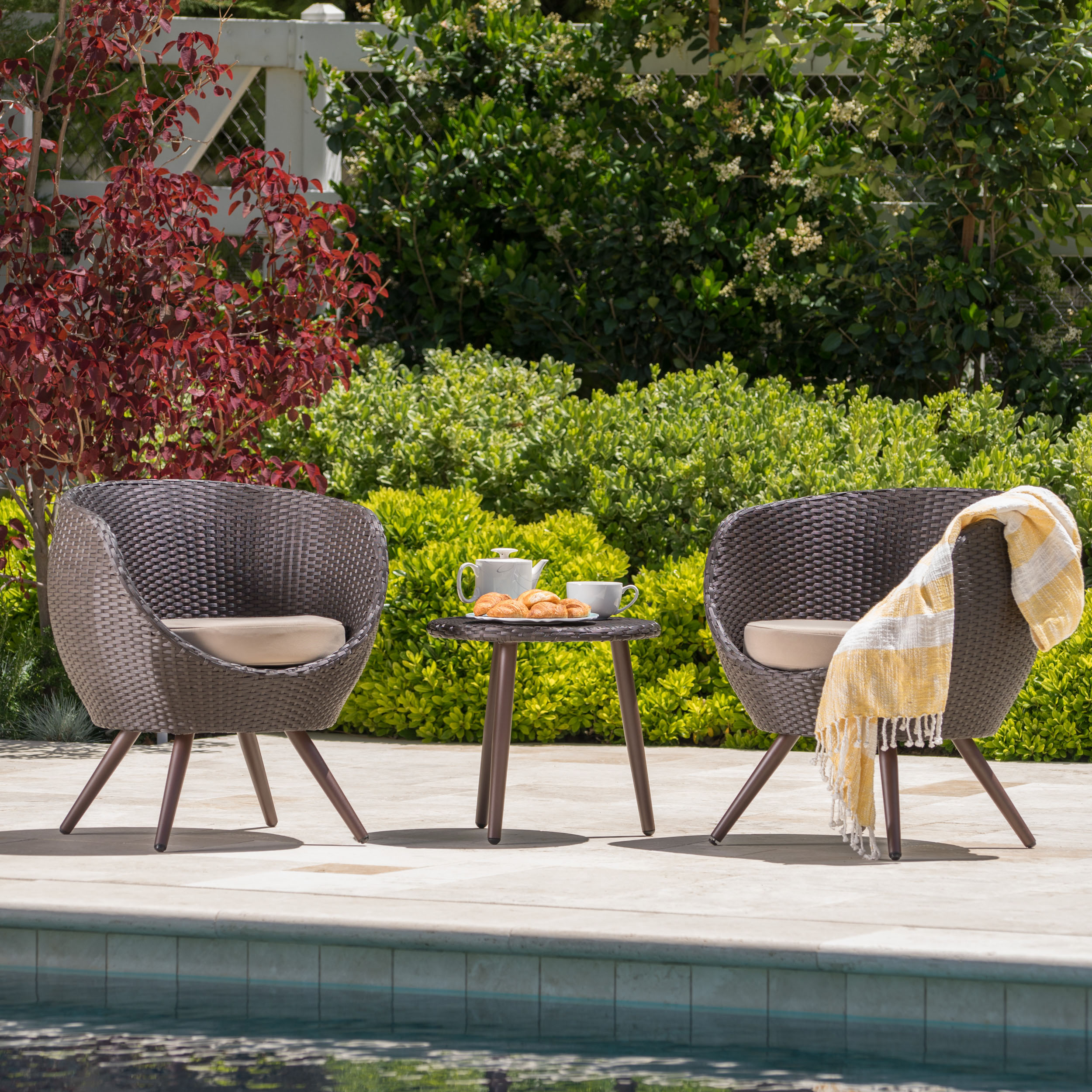 Cambria Outdoor 3 Piece Wicker Chat Set with Cushions, Multibrown, Light Brown