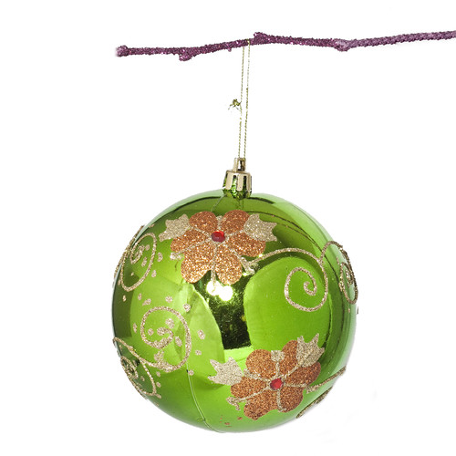 Perfect Holiday 3.9'' Shatterproof Handpainted Flower with Acrylic Diamonds Christmas Ball Ornament