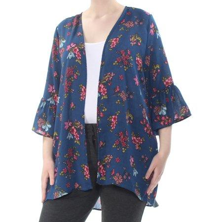 GYPSIES & MOONDUST Womens Navy Floral Bell Sleeve Open Cardigan Evening Top  Size: -