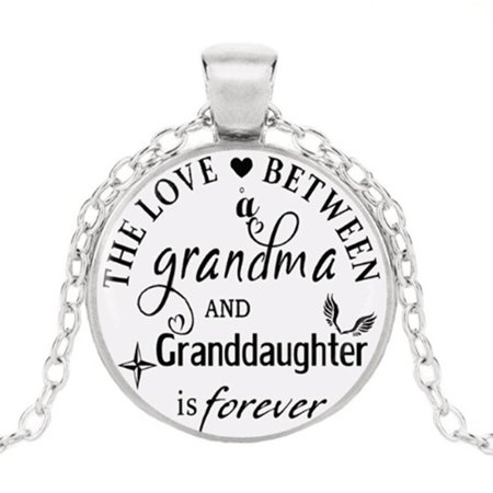 KABOER The Love Between Grandma And Granddaughter Is Forever Necklace Handmade Cabochon Glass Pendant Necklace, Ladies Necklace, Family Gift, Grandma And Granddaughter Gift Glass Cross Pendant Necklace