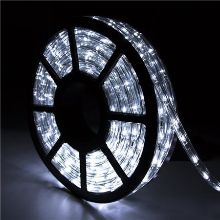 Ainfox 110V 50 Ft. 2 Wire Led Rope Lights Christmas Lights Waterproof Indoor Outdoor Use for Backyard Party Christmas Thanksgiving Decoration (Cold White) Outdoor Renaissance Two Light