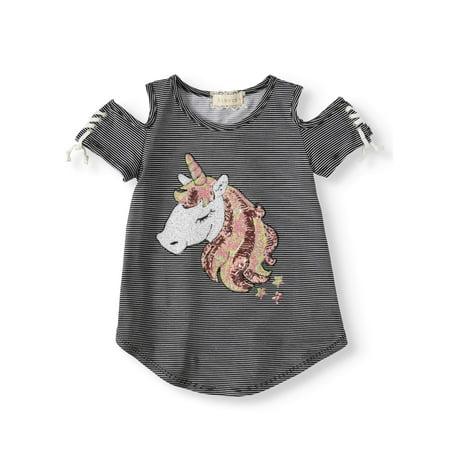Sequin Unicorn Striped Cold Shoulder Top (Big Girls)](Unicorn Items)