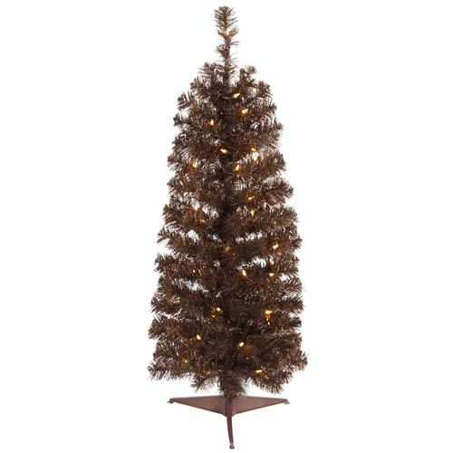 4.5' Pre-Lit Mocha Brown Pencil Artificial Tinsel Christmas Tree - Clear Lights