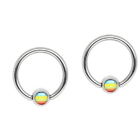 Body Accentz Captive Hoop Rings Steel  Bead Rainbow Flag Logo Ball 16G Pair Captive Bead Ring Hoop