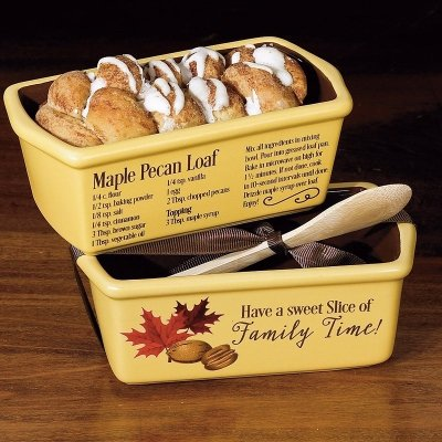 Loaf Pan-Mini-Family Time/Maple Pecan Recipe w/Wooden Spoon