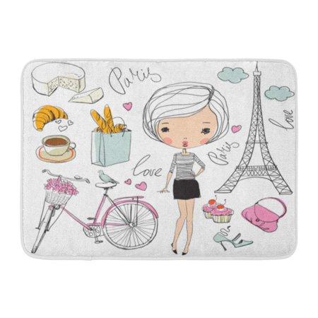 GODPOK Love French of Paris Girl Bistro Vintage Rug Doormat Bath Mat 23.6x15.7