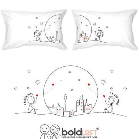 boldloft miss us together couples pillowcaseslong distance relationships gifts for girlfriendboyfriend