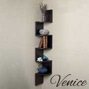 5 Tier 4ft Corner Wall Mount Shelf Zig Zag Decor Home Laminate Black Shelves
