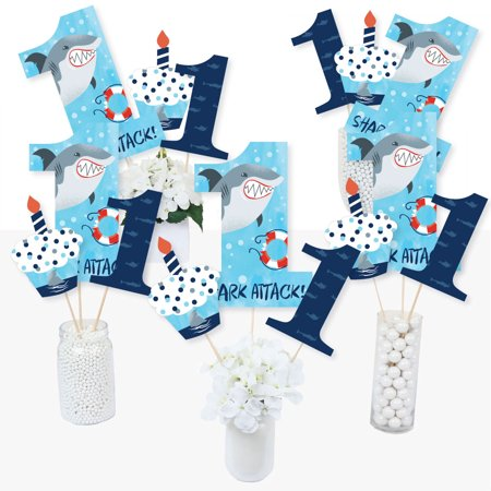 1st Birthday Shark Zone - Jawsome Shark First Birthday Party Centerpiece Sticks - Table Toppers - Set of 15 (First Birthday Centerpieces)