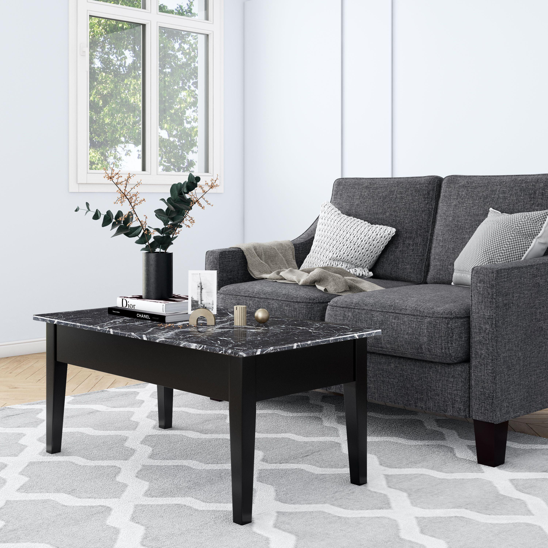 Dorel Living Faux Marble Lift Top Coffee Table With Storage Black Walmart Com Walmart Com