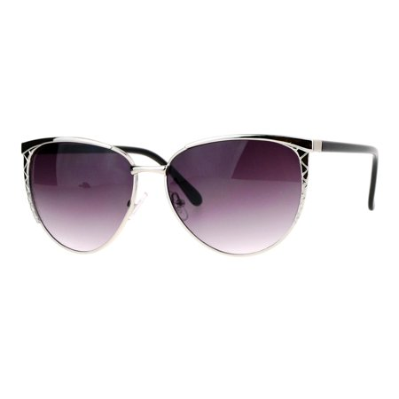 SA106 Womens Diva Metal Oversize Cat Eye Sunglasses Silver Smoke