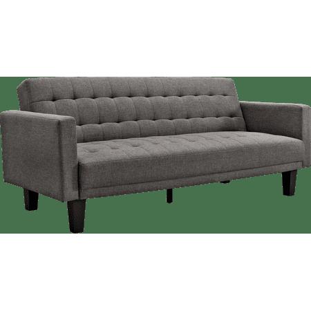 Dhp Sienna Sofa Sleeper Futon Couch Grey Linen Upholstery