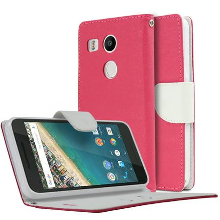 Nexus 5X Wallet Case [Hot Pink/White] Faux Leather Flip Cover ID Slots Bill Fold & Snap Close Magnet for Google Nexus 5X, Nexus 5 2nd Gen Case