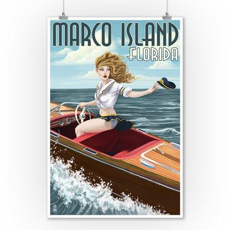 Marco Island, Florida - Pinup Girl Boating - Lantern Press Artwork (9x12 Art Print, Wall Decor Travel Poster)