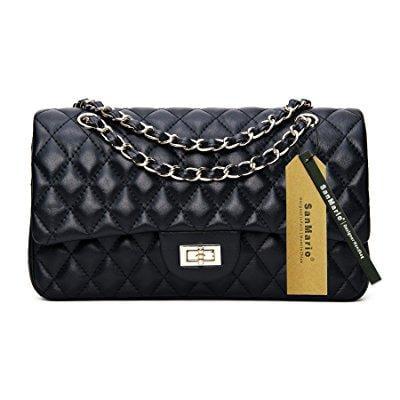 ... sanmario designer handbag lambskin classic quilted grained double flap  gold tone metal chain women s crossbody shoulder 852977a764
