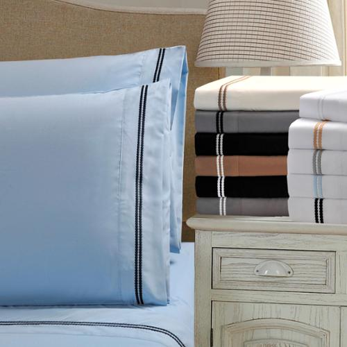 Wrinkle Resistant Embroidered 2-Line Sheet Set in Gift Box King Pillowcase Set - Ivory/Taupe