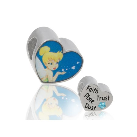 Connections from Hallmark Disney Stainless Steel Tinkerbell Blue Crystal Heart Charm ()