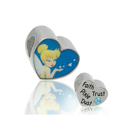 Jack Heart Charm (Connections from Hallmark Disney Stainless Steel Tinkerbell Blue Crystal Heart Charm)