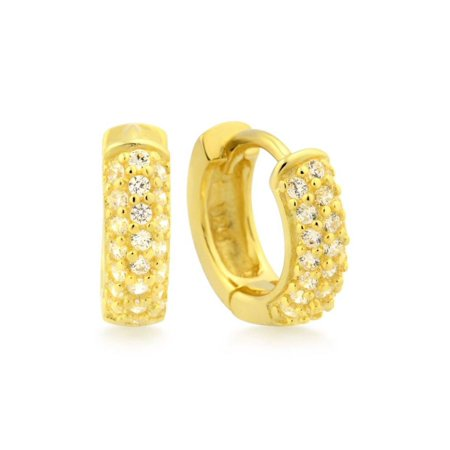18k Yellow Gold Over Sterling Silver Micro Pave Rounded Huggies Earrings 12mm