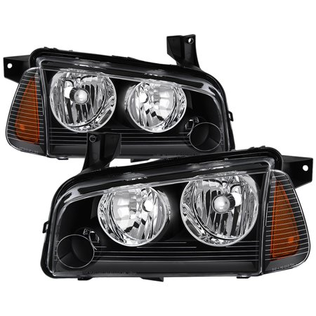 For 05-10 Dodge Charger TD Crystal Headlights + Corner Lights Set (Black)