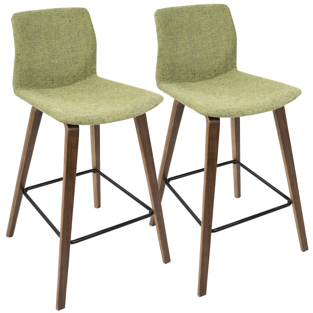 Cabo Mid-Century Modern Counter Stool in Walnut and Green Fabric by Lumisource Set of 2 by
